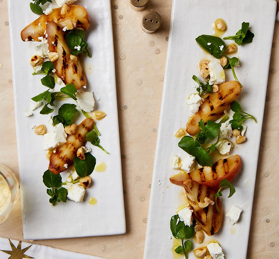 Griddled pears with goat's cheese & hazelnut dressing