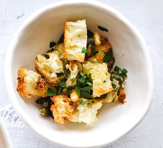 Homemade croutons in dish