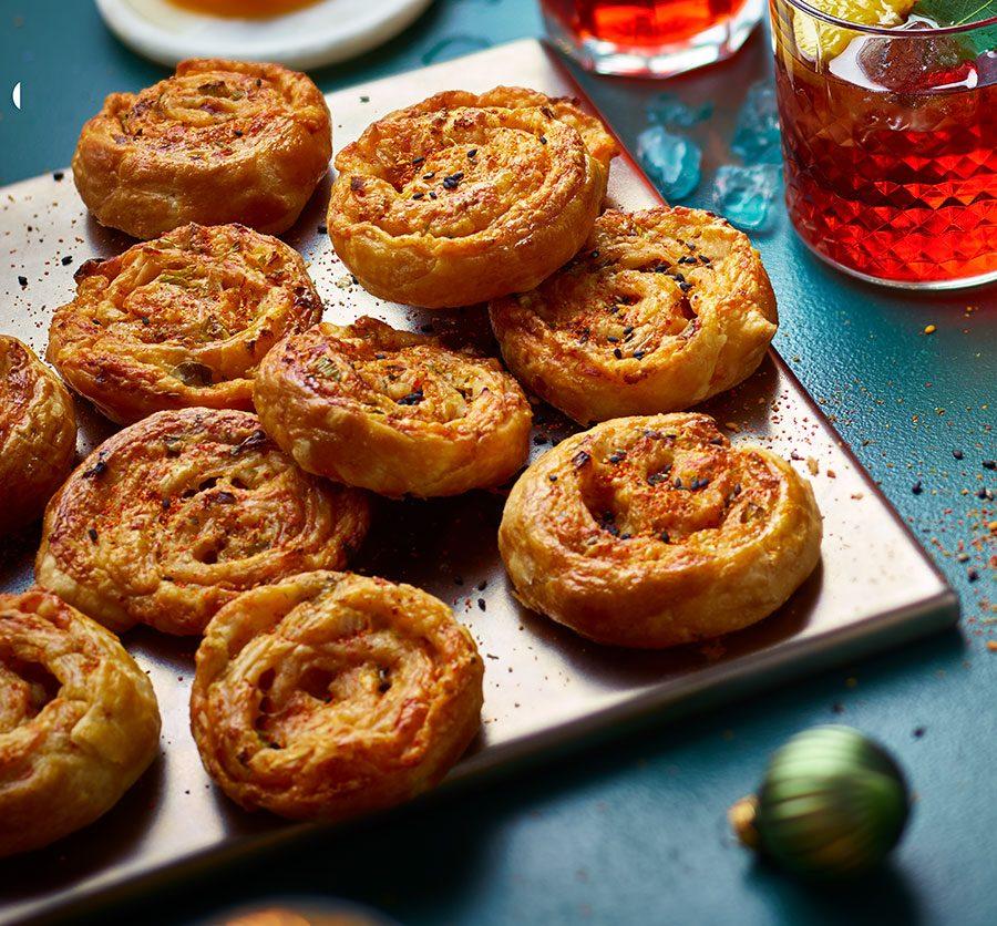 Kimchi, cheese & spring onion pinwheels