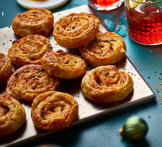 A selection of kimchi, cheese and spring onion pinwheels