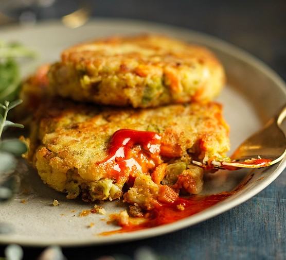 Leftover Christmas lunch patties on a plate with gochujang mayo