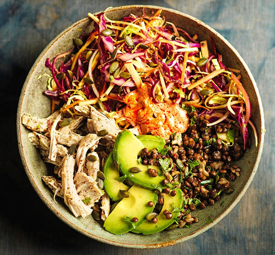 Leftover turkey grain bowls with za'atar, rainbow slaw & harissa yogurt