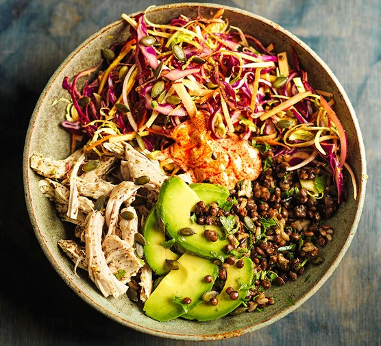 Leftover turkey grain bowls with za'atar, rainbow slaw & harissa yogurt