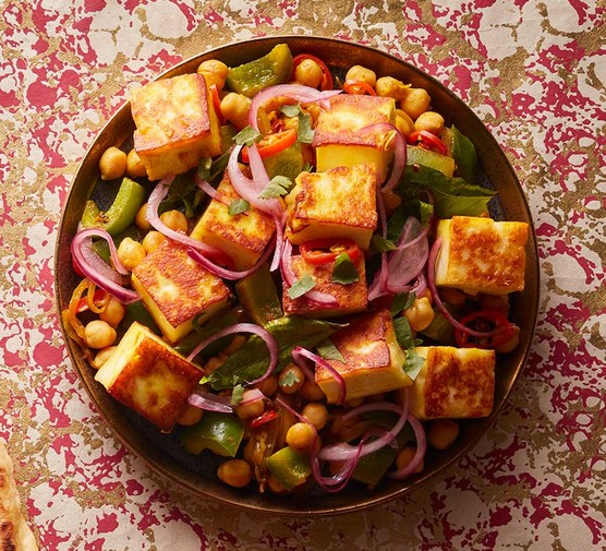 Paneer and chickpea fry in a small dish