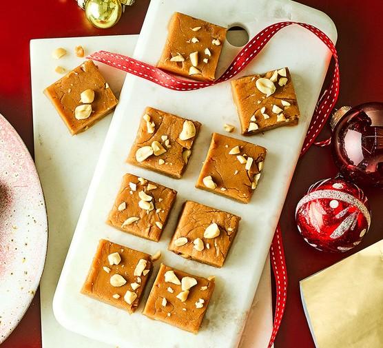 Squares of peanut butter fudge