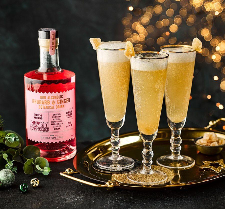 Rhubarb & ginger no-gin fizz