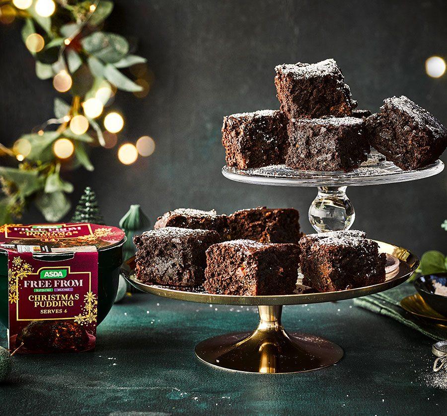 Vegan Christmas pudding brownies