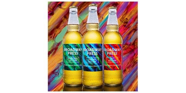 Broadway Press cider in three bottles