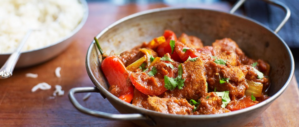 Chicken curry in dish