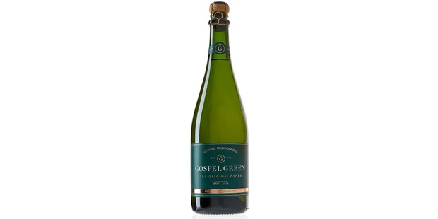 Gospel Green Brut cider in a bottle