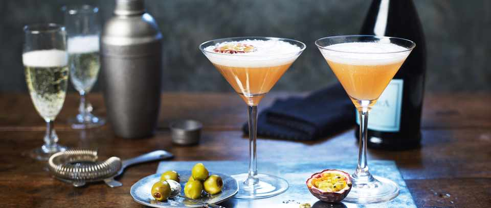 Passion fruit martini in glasses
