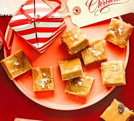 Salted caramel fudge on plate