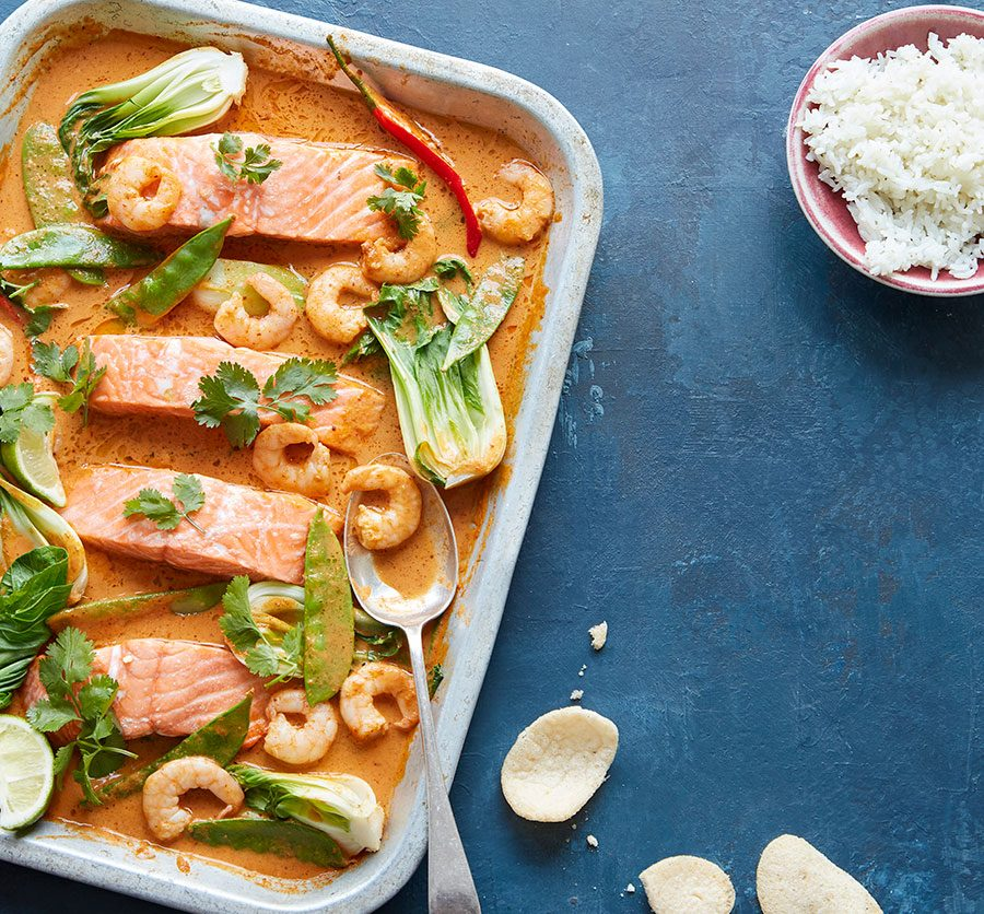 Fragrant coconut, salmon & prawn traybake