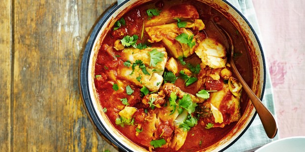 A cod casserole with tinned tomatoes and coriander