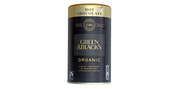 Green and Blacks organic hot chocolate in a tub
