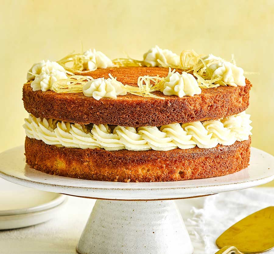 Lemon layer cake with soft cheese icing