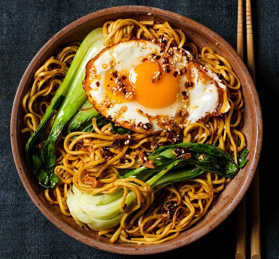 Noodles with crispy chilli oil eggs