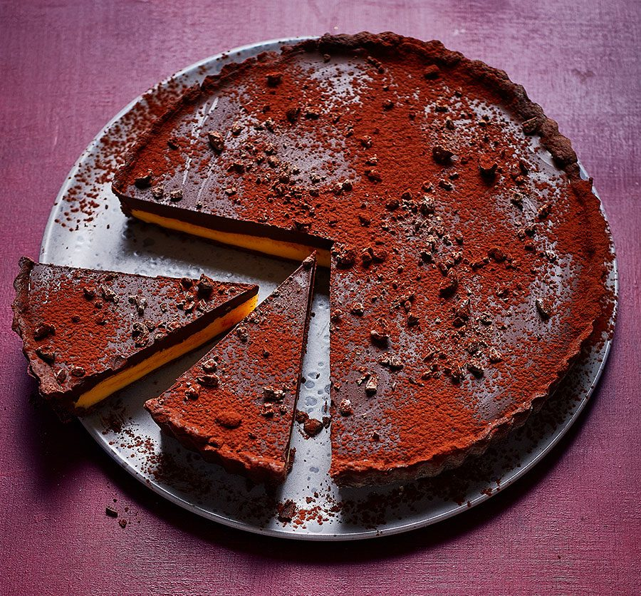 Dark chocolate & passion fruit tart