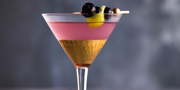 Aviation cocktail with blueberry garnish