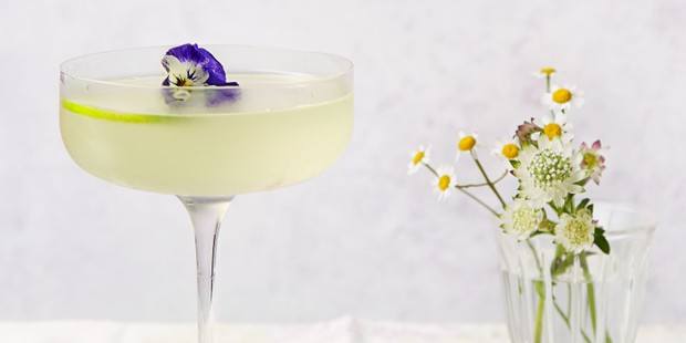 Gimlet with edible flowers
