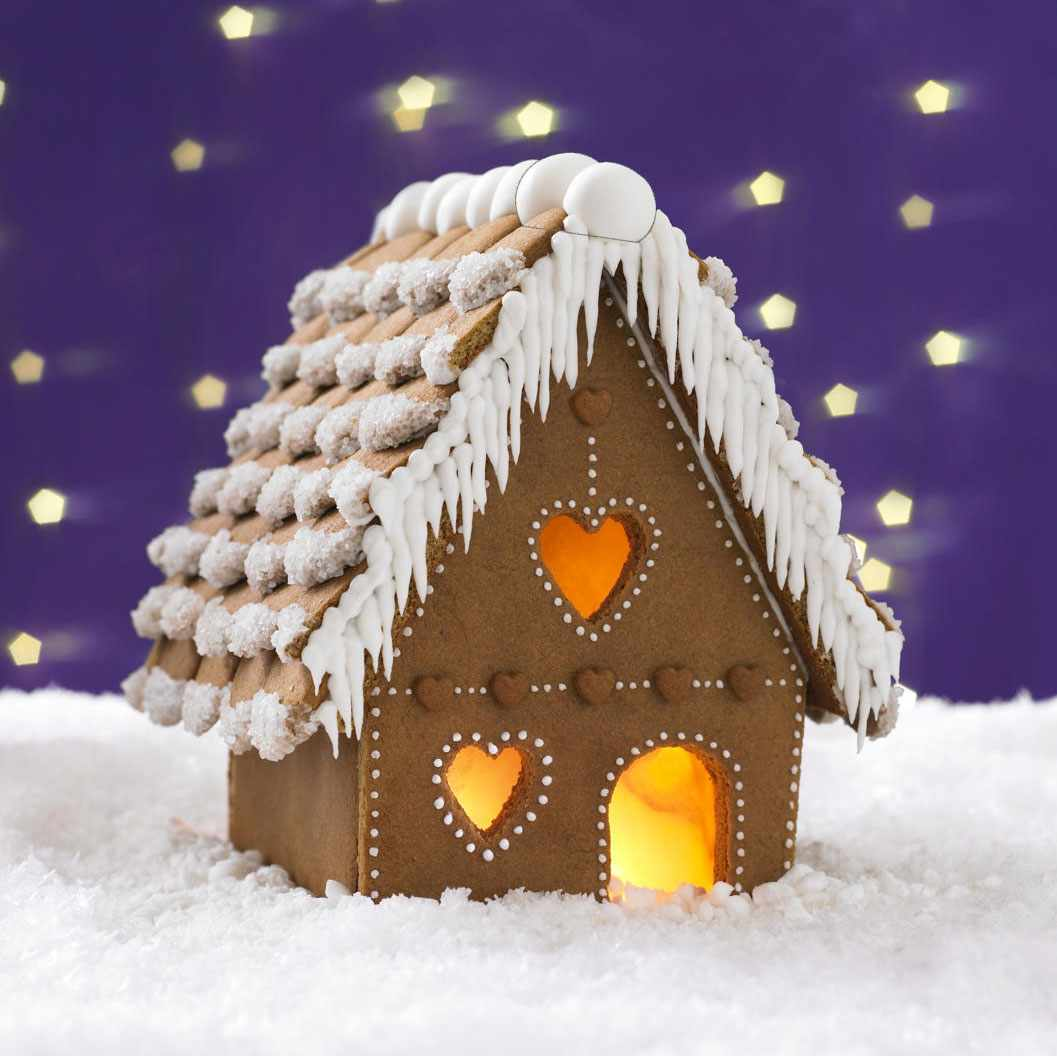 Gingerbread house decorated with icing