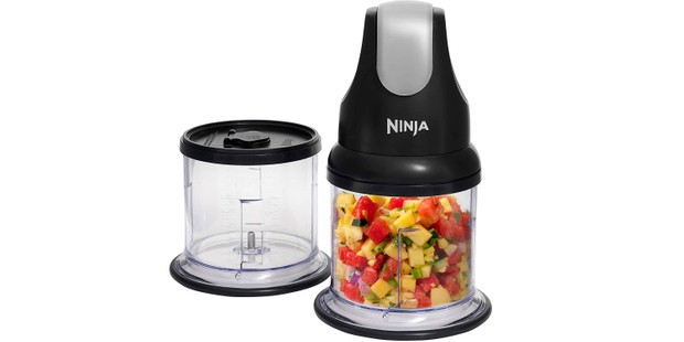 Ninja mini chopper with ingredients in bowl