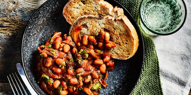 Homemade baked beans on two slices of toast