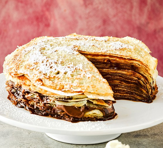 One build-your-own chocolate and peanut butter pancake cake