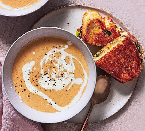 Curried swede soup with mango chutney cheese toasties served on the side
