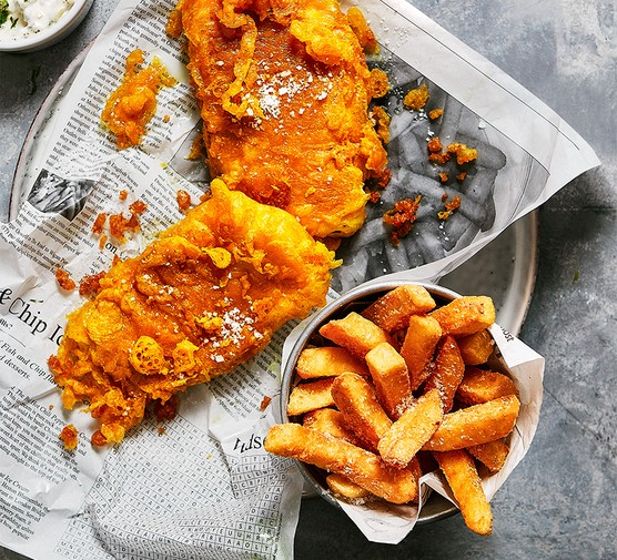 Next level fish and chips served in newspaper