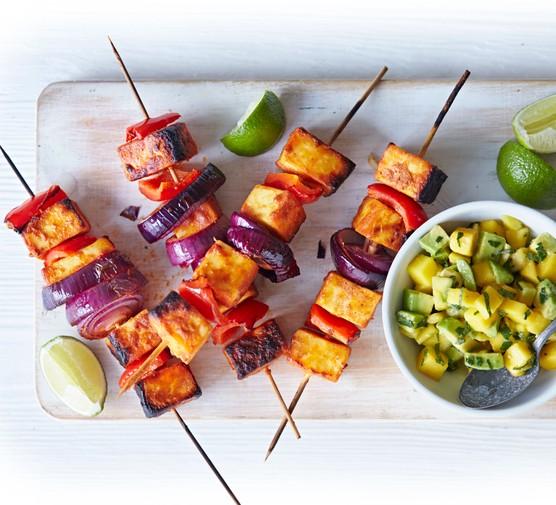 Paneer and onion kebabs with corn relish