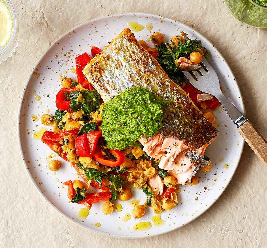 Salsa verde salmon with smashed chickpea salad