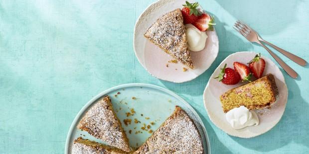 Strawberry and pistachio olive oil cake