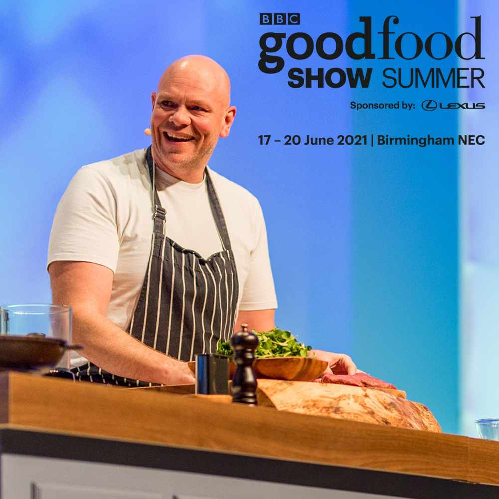 Tom Kerridge with Good Food Show logo