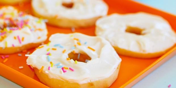 apple doughnuts on tray