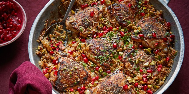 Crispy za'atar chicken pilaf with pomegranate