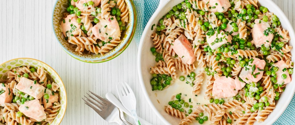 A salmon pasta dish with peas