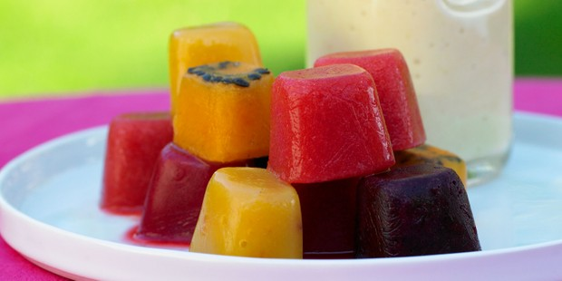 Frozen smoothie cubes on tray