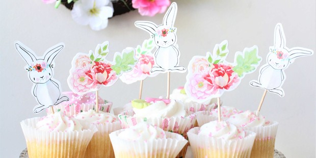 Bunny Floral Cupcake Toppers