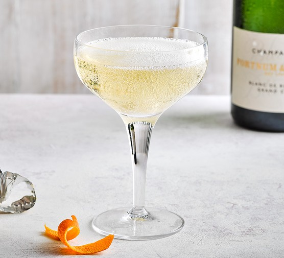 Champagne cocktail in a cocktail glass