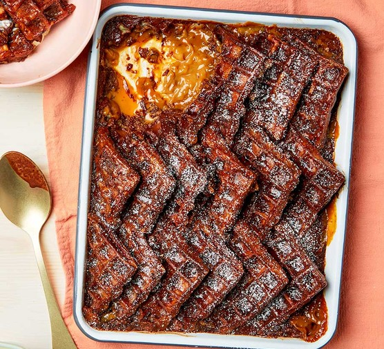 Chocolate & salted caramel waffle bread & butter pudding