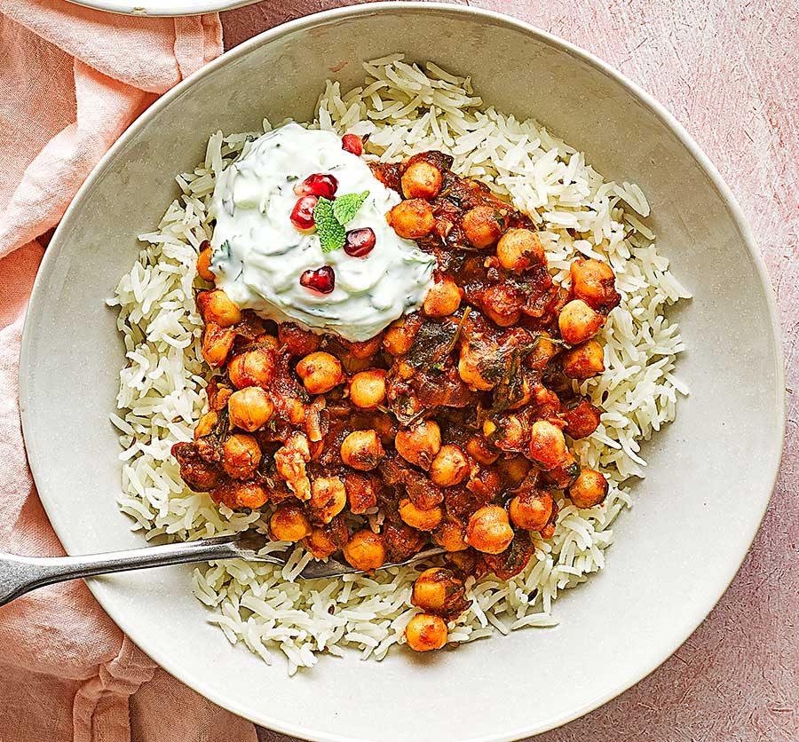 Chole with cumin rice & raita
