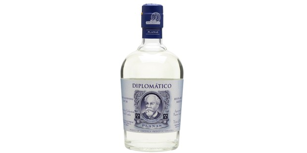 A bottle of rum against a white background