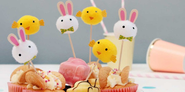 Easter Bunny Rabbit and Chick Pom Pom Cake Decorations