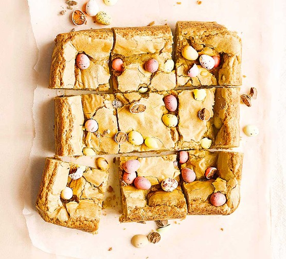 Easter egg blondies cut into squares