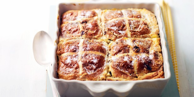 Hot cross bun bread and butter pudding in a baking dish
