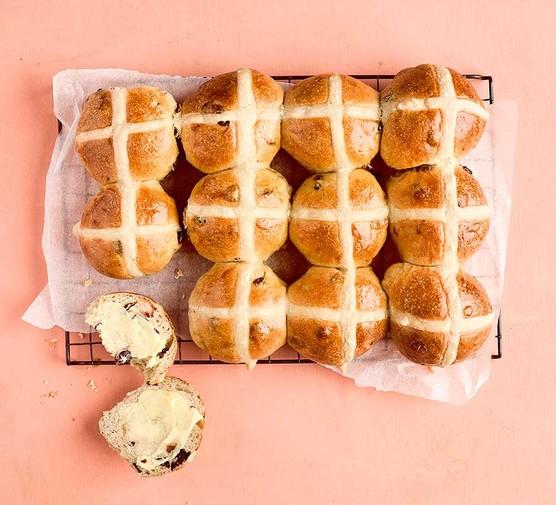 A selection of sourdough hot cross buns