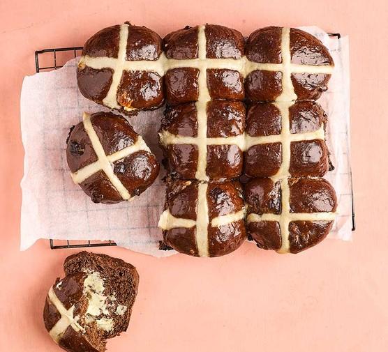 A selection of triple-chocolate hot cross buns