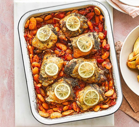 Lemon and herb chicken traybake with butter beans and potato wedges
