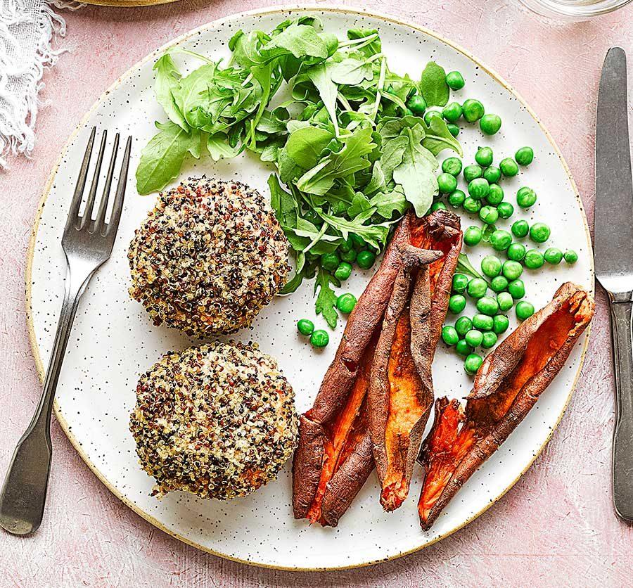 Quinoa-coated salmon & sweet potato fishcakes